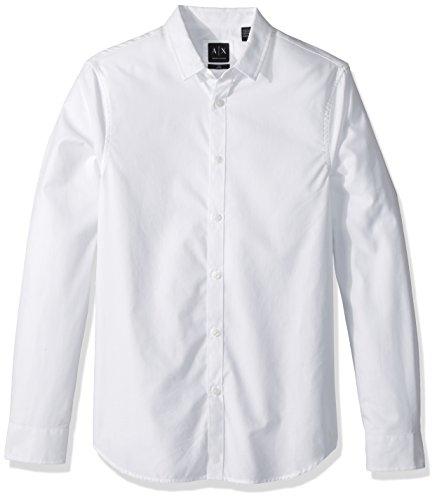 A|X Armani Exchange Men's Slim Oxford-Style Button Down, White, - Exchange Armani Style