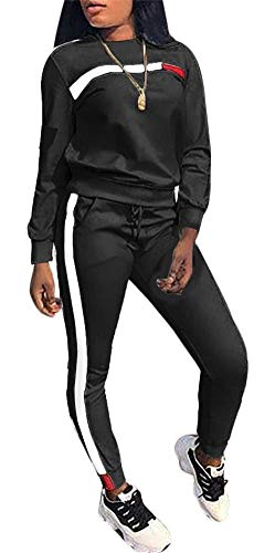 Women's Jogging Suits Casual 2 Piece Outfits Stripe Pullover Sweatshirts Long Pants Tracksuit Set Plus Size ()