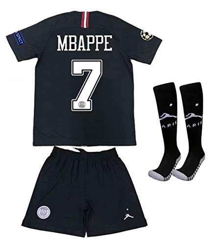 805ecc799 Saint George ii PSG X  7 Mbappe 2018 2019 New Away Youths Kids Soccer  Jersey   Armbands   Shorts   Socks Black White Size 6-7years