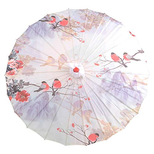 Vintage Chinese Parasol Flower Print Oil Paper Umbrella Wooden Handle Oriental Umbrella