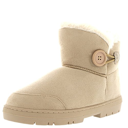 Holly Womens Button Mini warme Schuhe Winter flache Schnee Regen Stiefel Beige