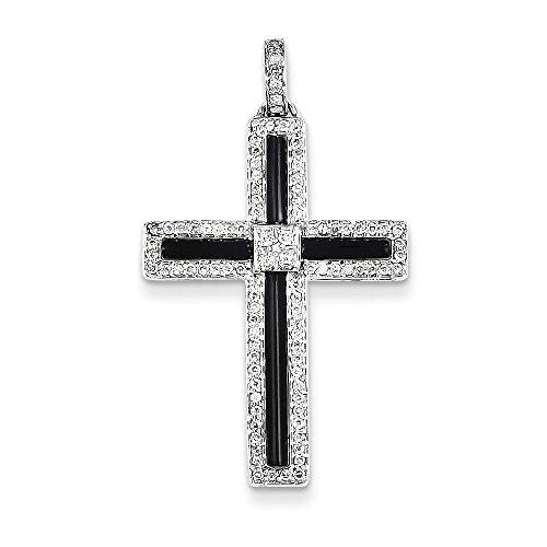 te Gold Diamond & Onyx Cross Pendant (14k Gold Onyx Cross Pendant)