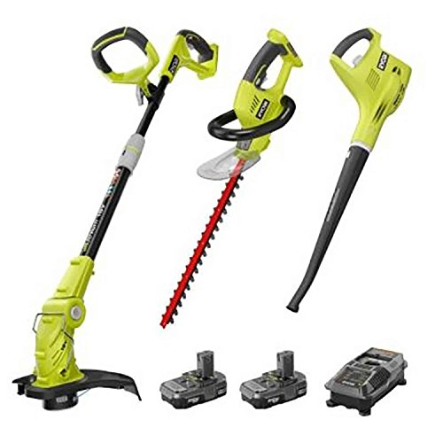 Ryobi P2015 ONE+ 18-Volt Lithium-ion Cordless Trimmer Blower Hedge Combo Kit ZRP2015 (Certified Refurbished) by Ryobi