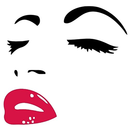Cheap  Wall Sticker - TOOGOO(R)Women Beauty Audrey Hepburn Eyes Red Lips Removable Room..
