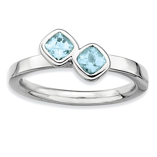 Sterling Silver Stackable Expressions Dbl Cushion Cut Aquamarine Ring Size 10
