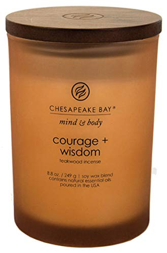 Aromatherapy Wisdom (Chesapeake Bay Candle Mind & Body Medium Jar Candle, Courage + Wisdom (Teakwood Incense))