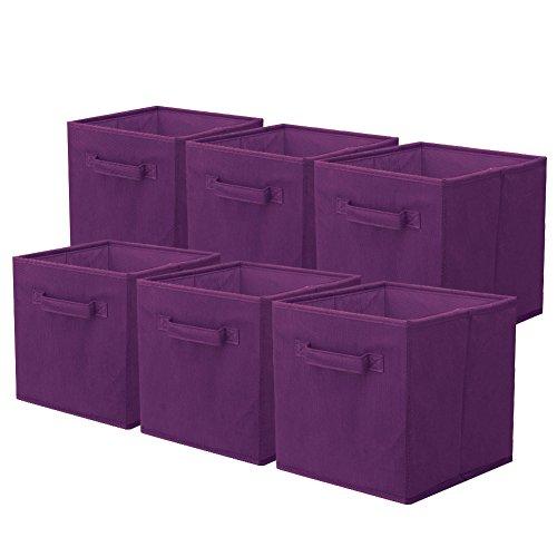 ShellKingdom Foldable Cloth Storage Cube Basket Bins Organizer Containers Drawers, 6 Pack(Purple)