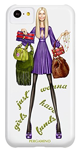 Luxury Designer Brand PERGAMINO | Protective Hard Cover, Slim Fit & Lightweight | Featuring Fashion Icon PERGIE (FUN FUN FUNDS IPHONE 5C)
