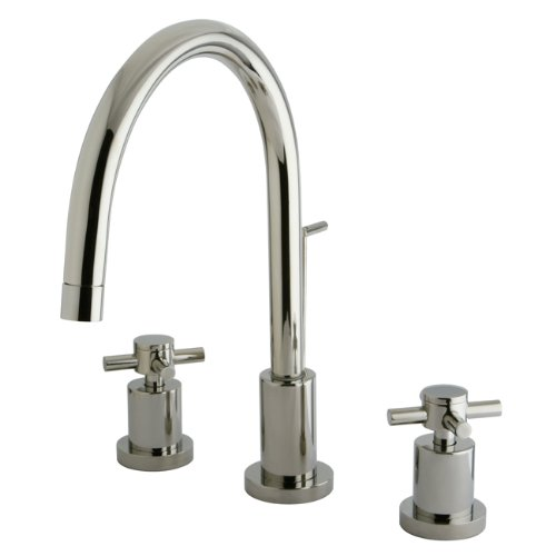 Kingston Brass KS8926DX Concord Widespread Lavatory Faucet with Brass Pop-Up with Metal Cross Handle, Polished - Nickel Metal Cross