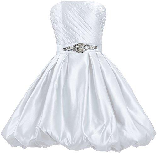 Sans Bretelles Duveteux Robes Courtes De Bal De Fourmis Femmes Robe De Satin Blanc