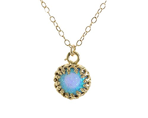 Gold Opal 14k Pendant - Gold Opal Necklace Blue Opal Pendant 14K gold Filled Chain Jewelry