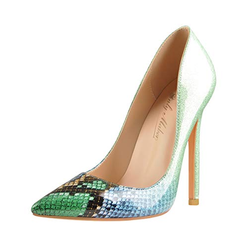 Onlymaker Pointed Toe Pumps, Women Stiletto Wedding Party Shoes Slip On Heeled Large Size High Heels Green US 8 (Shoes To Wear With Emerald Green Dress)
