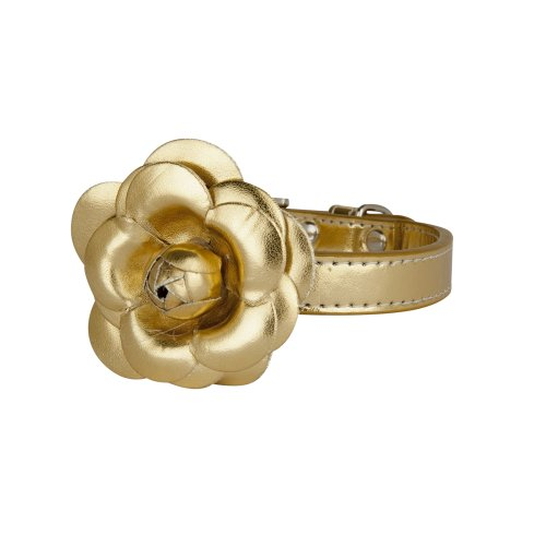 LazyBonezz Pet Flower Collar, Gold – Size Small, My Pet Supplies
