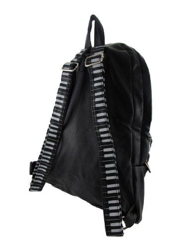 Black Vinyl Music Note and Piano Key Backpack