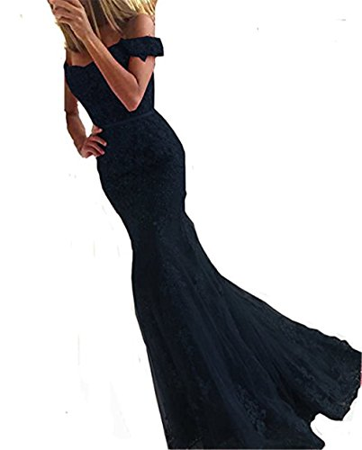 YSMei Lace Mermaid Tulle Prom Dresses Off Shoulder Long Beaded Formal Party Gown Navy Blue 10 by YSMei (Image #9)'