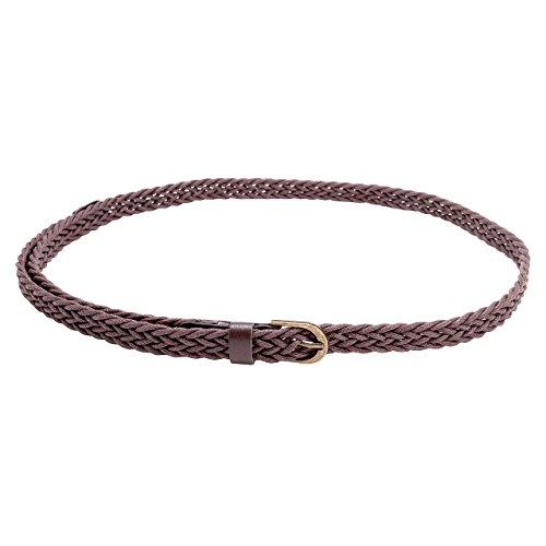 CHIC DIARY Women Braided Waist Belt Skinny Woven Belt for Dress (Deep brown) ()
