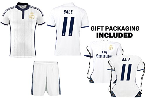 Real Madrid Home/Away / Third Kids Soccer Jersey Ronaldo #7 / Bale #11 Jersey Shorts 4 in 1 Multiple Gift Kit Youth Sizes YL YM YS (Youth Medium 8 to 10 Years, Bale #11 Home (White))