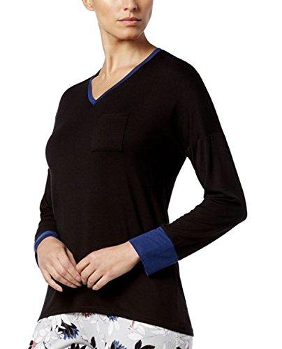 Alfani Colorblock Contrast-Cuff Pajama Top Black (Small)