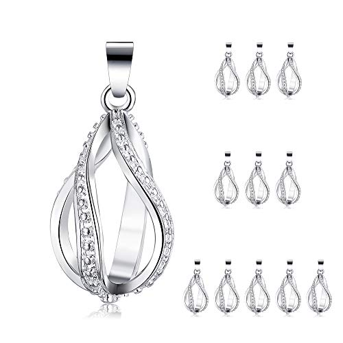 (12pcs Silver Plated Pearl Bead Cage Water Drop Spiral Locket Pendants Essential Oil Diffuser Necklace Bracelet DIY Charms Jewelry Making with Lava Stone)