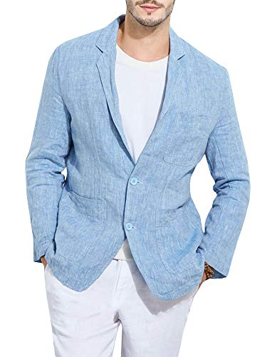 - Karlywindow Mens Casual Slim Fit Suits Linen Blazer Jackets Beach Wedding Outfits Light Blue