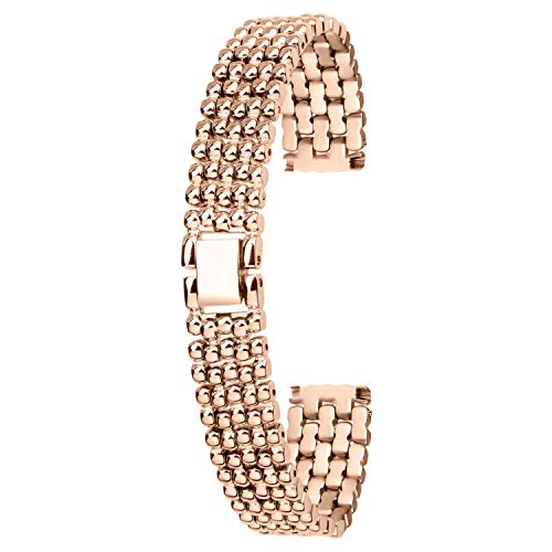 - 12mm Elegant Rose Gold Stainless Steel Watch Band Bracelet Brushed Solid Links Metal Wristband Strap