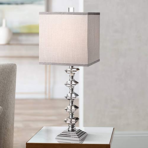 (Deco Collection Table Lamp Art Deco Chrome Stacked Diamond Shaped Crystal Gray Square Shade for Living Room Family - Vienna Full Spectrum)