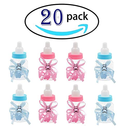 Noex Direct 10 pcs Pink and 10pcs Blue Baby Shower Favor Mini Candy Bottle Gift Box Girl Baby Birthday Parties Decoration ()