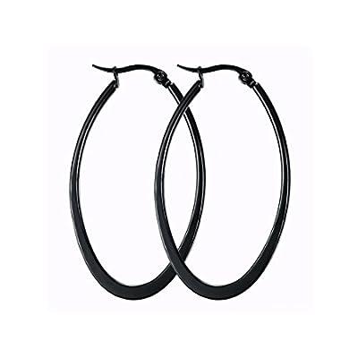Mengpa Titanium Steel Women's Hoop Earrings In Gold Black Silver
