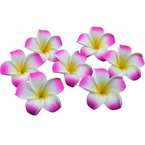 (Ewandastore 100 Pcs Diameter 2.4 Inch Artificial Plumeria Rubra Hawaiian Foam Frangipani Flower Petals for Weddings Party Decoration(Hot Pink))