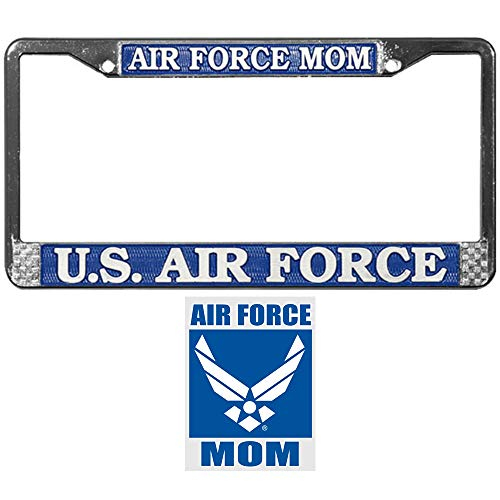 Air Force Mom License Plate Frame Bundle with Airforce Mom Car Decal