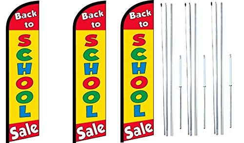(Back to School Sale King Windless Swooper Feather Flag Sign Kit with Complete Hybrid Pole Set- Pack of)