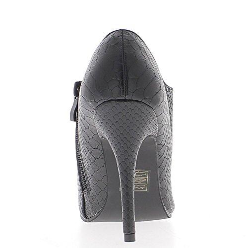 Bottines basses noires pointues à talon fins de 10,5cm look croco