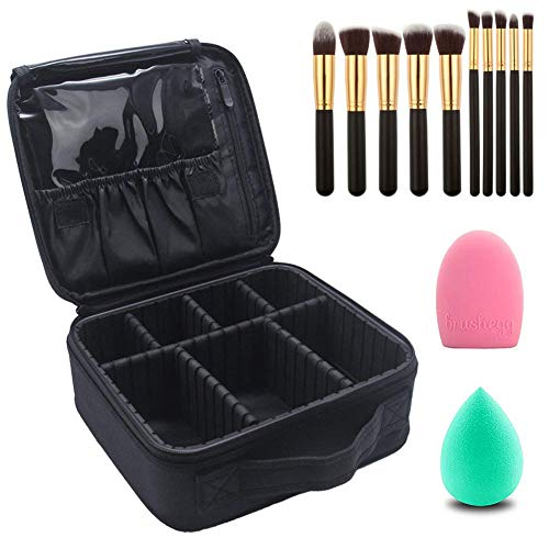 Relavel Makeup Bag with Makeup Brushes Set Makeup Organizers and Storage Cosmetic Travel Bag for Professional Makeup Brushes Makeup Train Case Set of Makeup Brushes and Makeup Case for Women (13 Pcs)