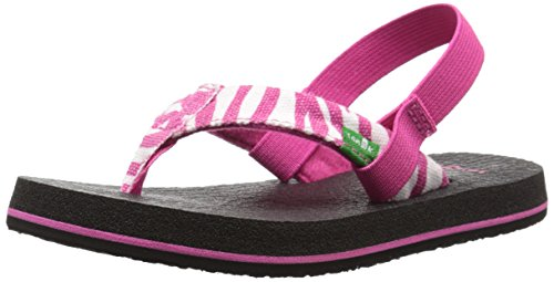 - Sanuk Kids Yoga Wildlife Girls Flip Flop (Toddler/Little Kid/Big Kid), Fuchsia Zebra, 7/8 M US Toddler