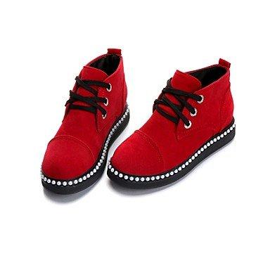 Deutsches Elektronen-Synchrotron Damen Schuhe Suede Fall Combat Stiefel Stiefel Flach Absatz Schuhe Schnürschuh für Casual rot schwarz, rot