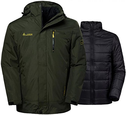 Wantdo Men's Winter Ski Jacket Water Resistant Windproof 3-in-1 Jacket Puff Liner Army Green L