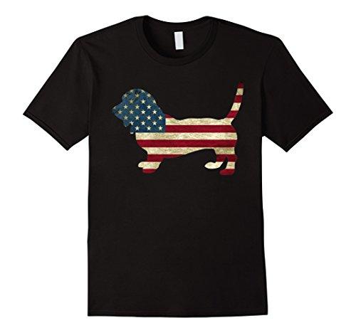 Mens Bassett Hound American Patriot US Flag Dog animal shirts Large - Hounds Bassett