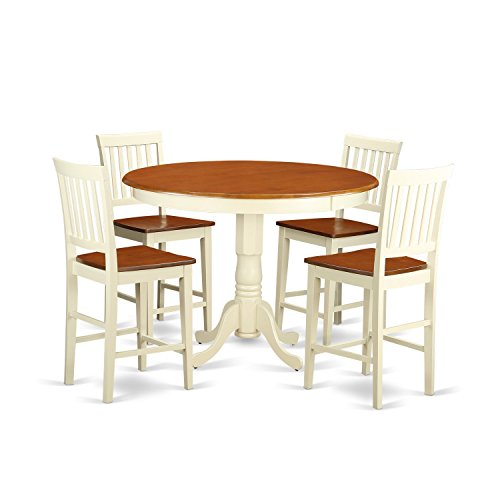 East West Furniture TRVN5-WHI-W 5 Piece Counter Height Pub Table and 4 Bar Stools Set