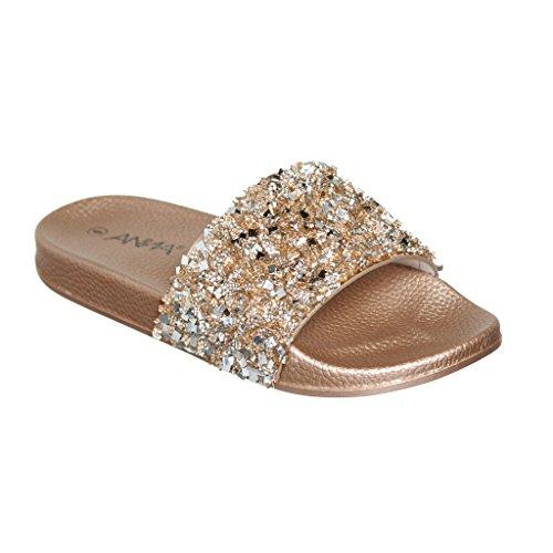Women's Flat Softy Slip on Slider slipper Sandals with Rhinestone Embellishment ( 8.5, Rose Gold Pu ) (Rhinestone Sandals)