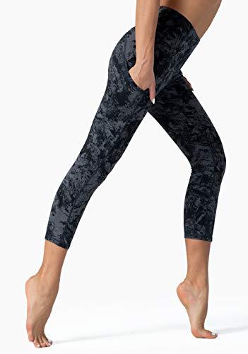 Tsuretobe High Waist Workout Yoga Leggings,Pockets Yoga Pants for Women,Tummy Control Running Yoga Capris