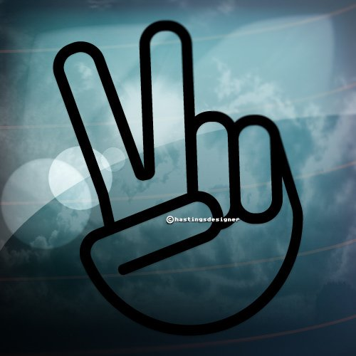 2x VICTORY PEACE HAND V Sign Funny Car,Window,Bumper JDM Vinyl Decal Stickers