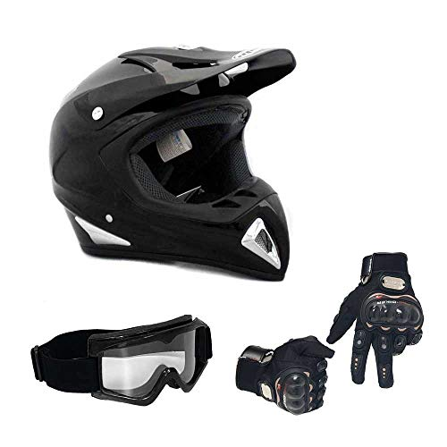 (COMBO Adult Motorcycle Off Road Helmet DOT - MX ATV Dirt Bike Motocross UTV (M, Shiny Black) with Riding Gloves and Goggles )