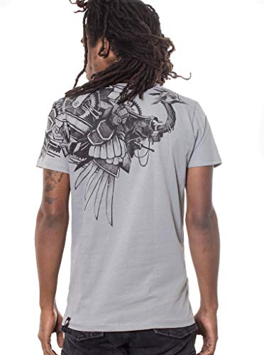 - Steampunk Ostrich T Shirt for Men - 100% Cotton Tee Regular Fit - Street Wear Clothing - in Grey - XL