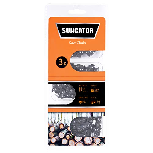 16 Inch Wide Drive - SUNGATOR 3-Pack 16 Inch Chainsaw Chain SG-S56, 3/8