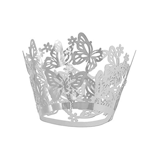 (50PCS Butterfly Cake Muffin Wrapper Cup Cupcake Liner Case for Wedding Birthday Supplies - Silver)