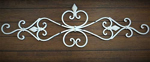 (Fleur de Lis Metal Wall Décor/Scrolled Wrought Iron Wall Décor/Antique White or Pick Your Color)