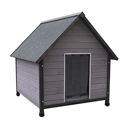 Holz-Hundehütte mit Satteldach, farbig lasiert, inkl. Pendelklappe