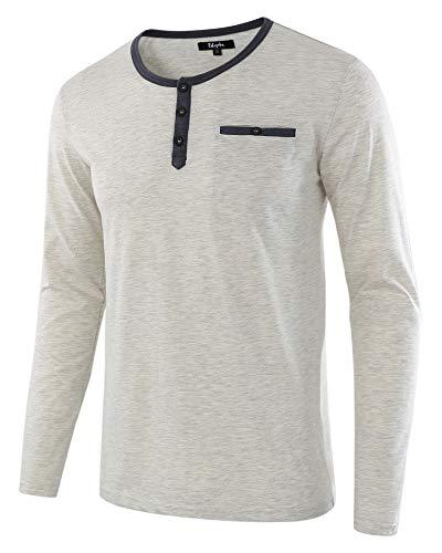 Estepoba Men's Casual Regular Fit Basic Long Sleeve Jersey Henley Pocket T-Shirt H.Oatmeal/C.Blue M
