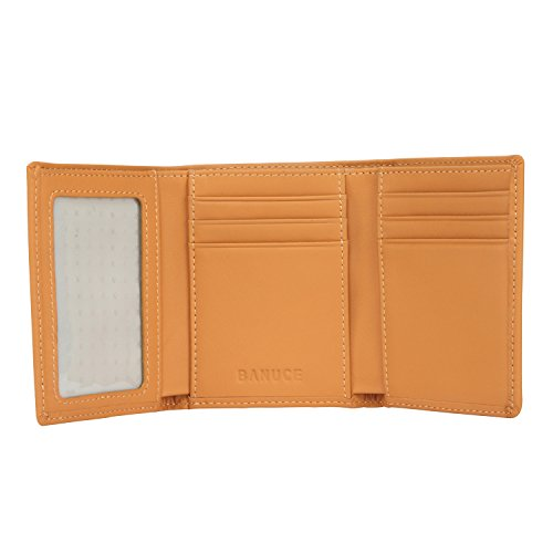 Banuce Women's Full Grains Genuine Leather Slim Small Item Trifold Wallet Color Light Brown by Banuce (Image #6)