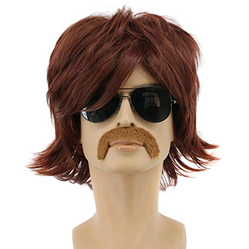 Yuehong Short Brown Shag 70s Mens Costume Wig With Mustache Set